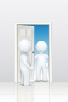 3d characters welcoming at door